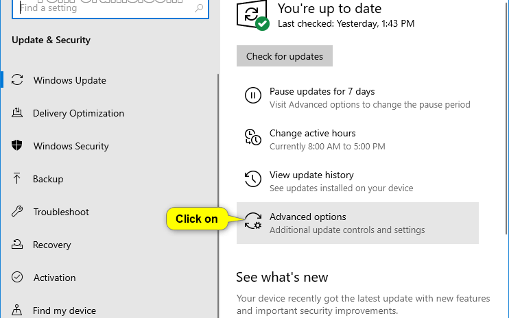 Open Settings app from the Start Menu. Then navigate to Update and Security.