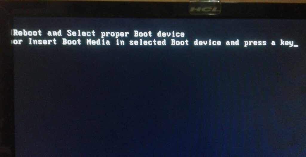 reboot and select a proper boot device error
