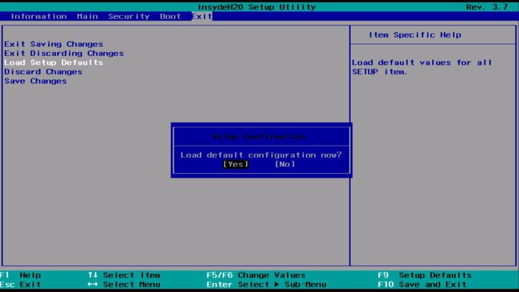 Applying The Default Settings in BIOS Menu