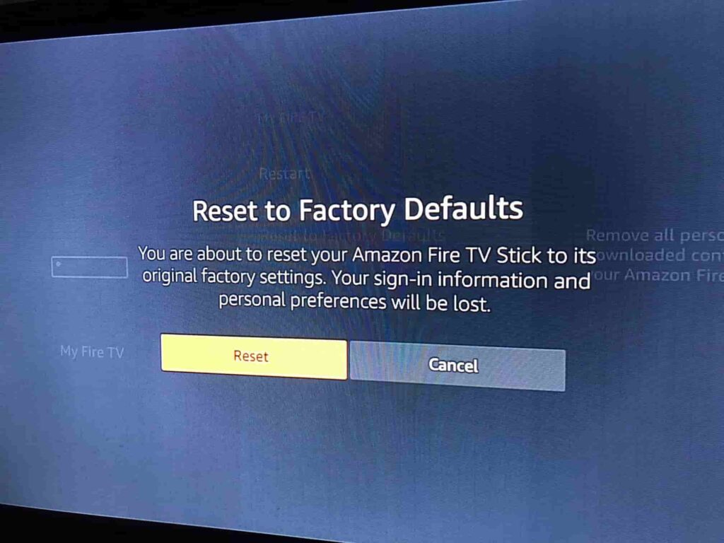 Reset the Firestick to factory settings connected to wifi but no internet