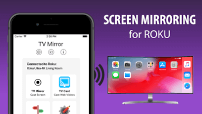 Through Screen Mirror from iPhone , apple music on roku