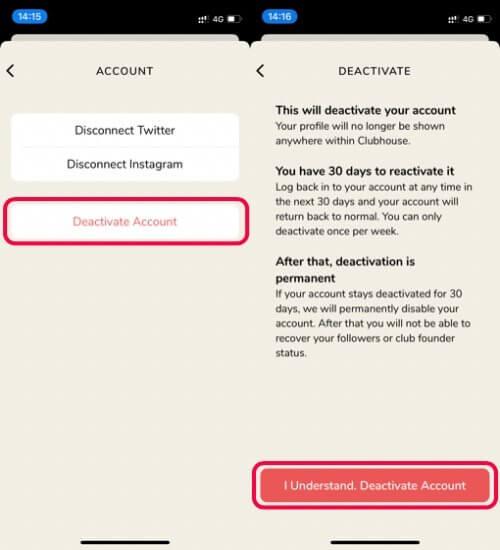 delete clubhouse account