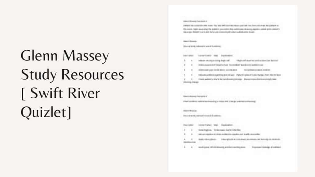 Glenn Massey Study Resources